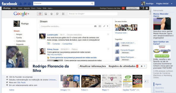 Minha cover da Timeline: Google Plus e Facebook