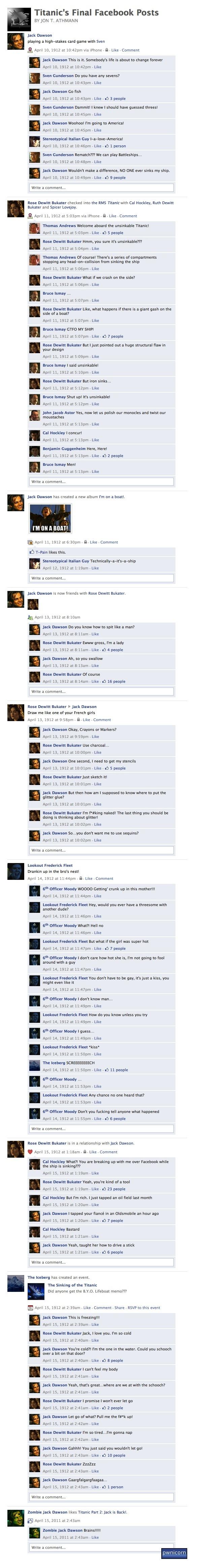 Titanic no Facebook