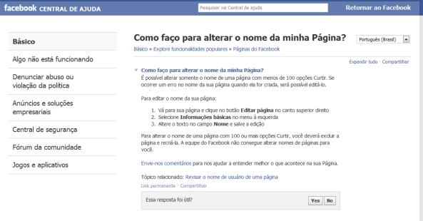 Como mudar o nome de uma página no Facebook?
